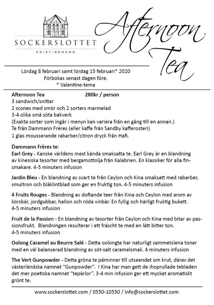 Afternoon tea meny februari 2020