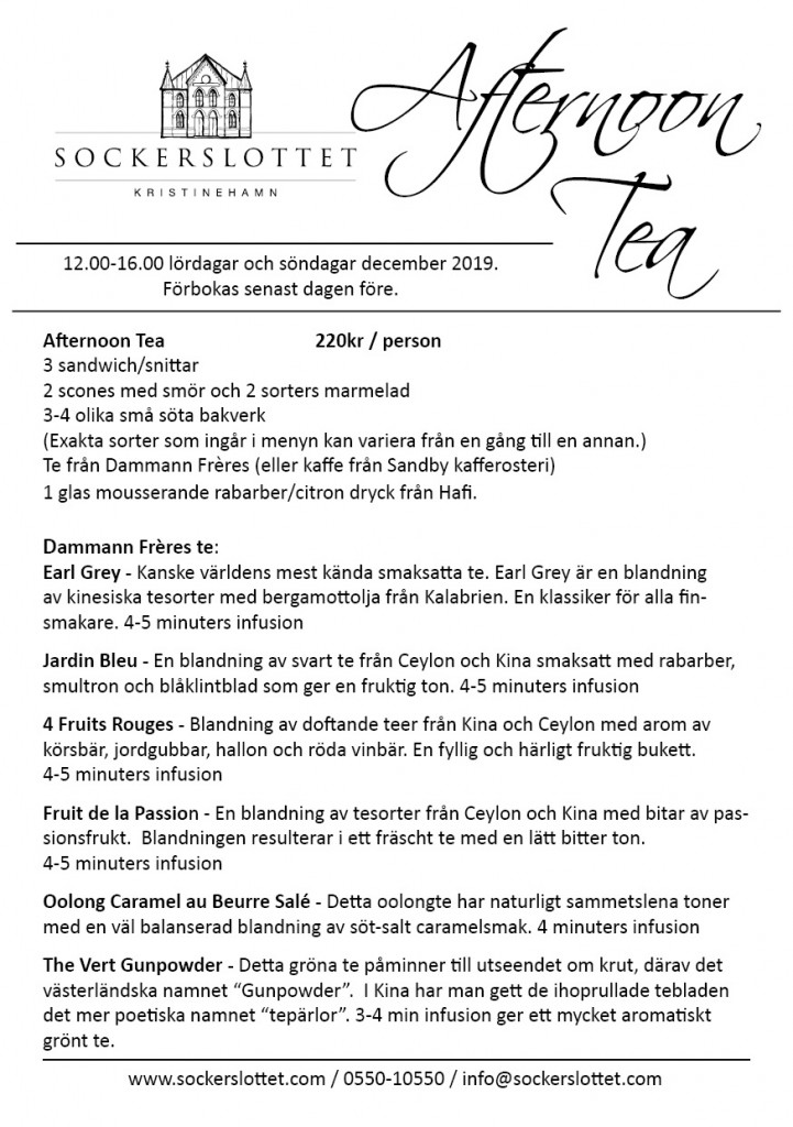 Afternoon tea meny December 2019